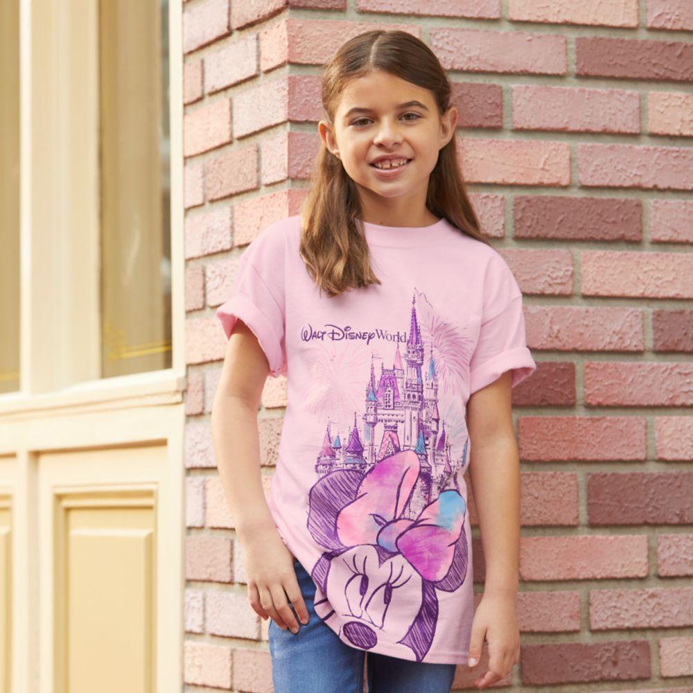 Minnie Mouse Cinderella Castle Sketch T-Shirt for Girls – Walt Disney World