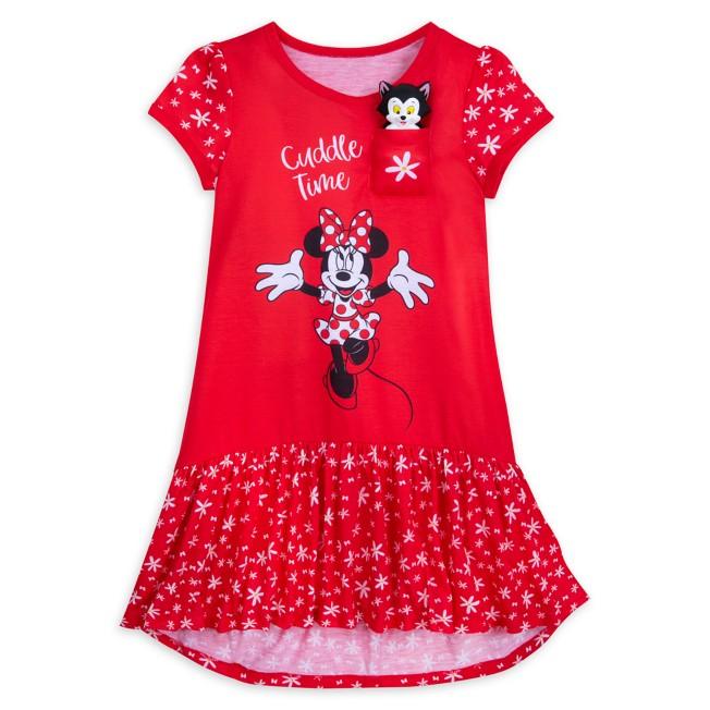 Minnie Mouse Nightshirt for Girls with Figaro Plush