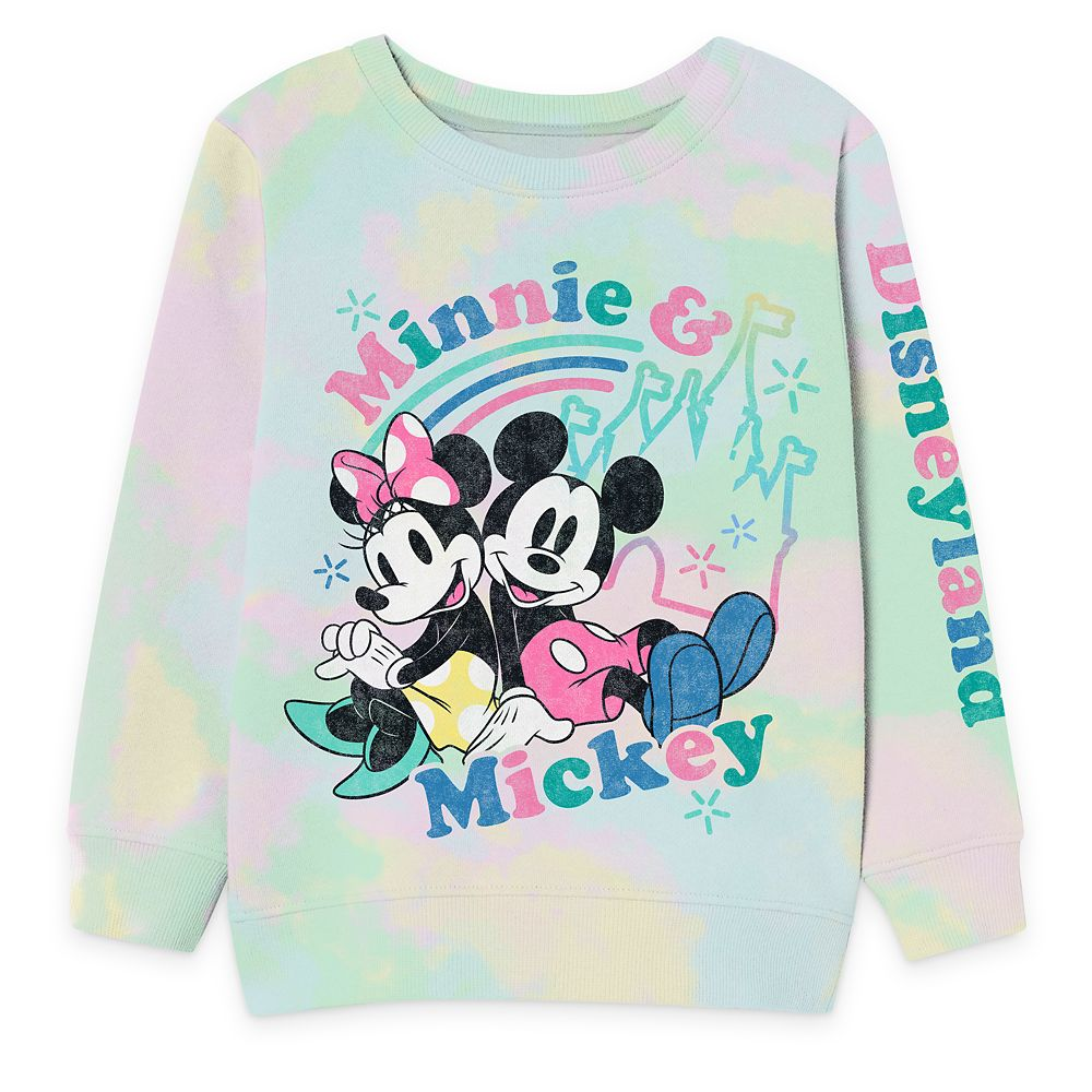 Mickey and Minnie Mouse Pastel Tie-Dye Sweatshirt for Kids – Disneyland