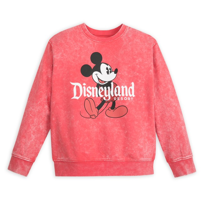 Mickey Mouse Mineral Wash Sweatshirt for Kids – Disneyland – Red