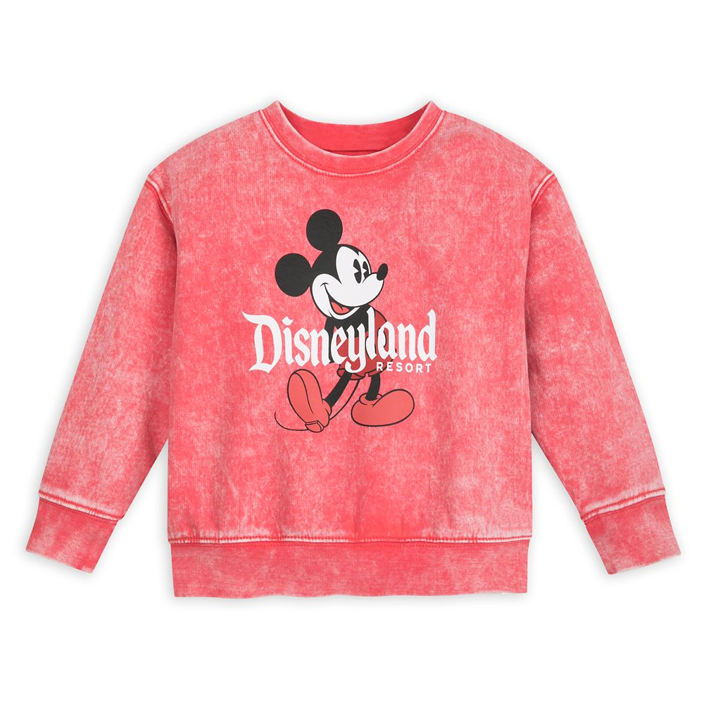 Mickey Mouse Mineral Wash Sweatshirt for Toddlers – Disneyland – Red