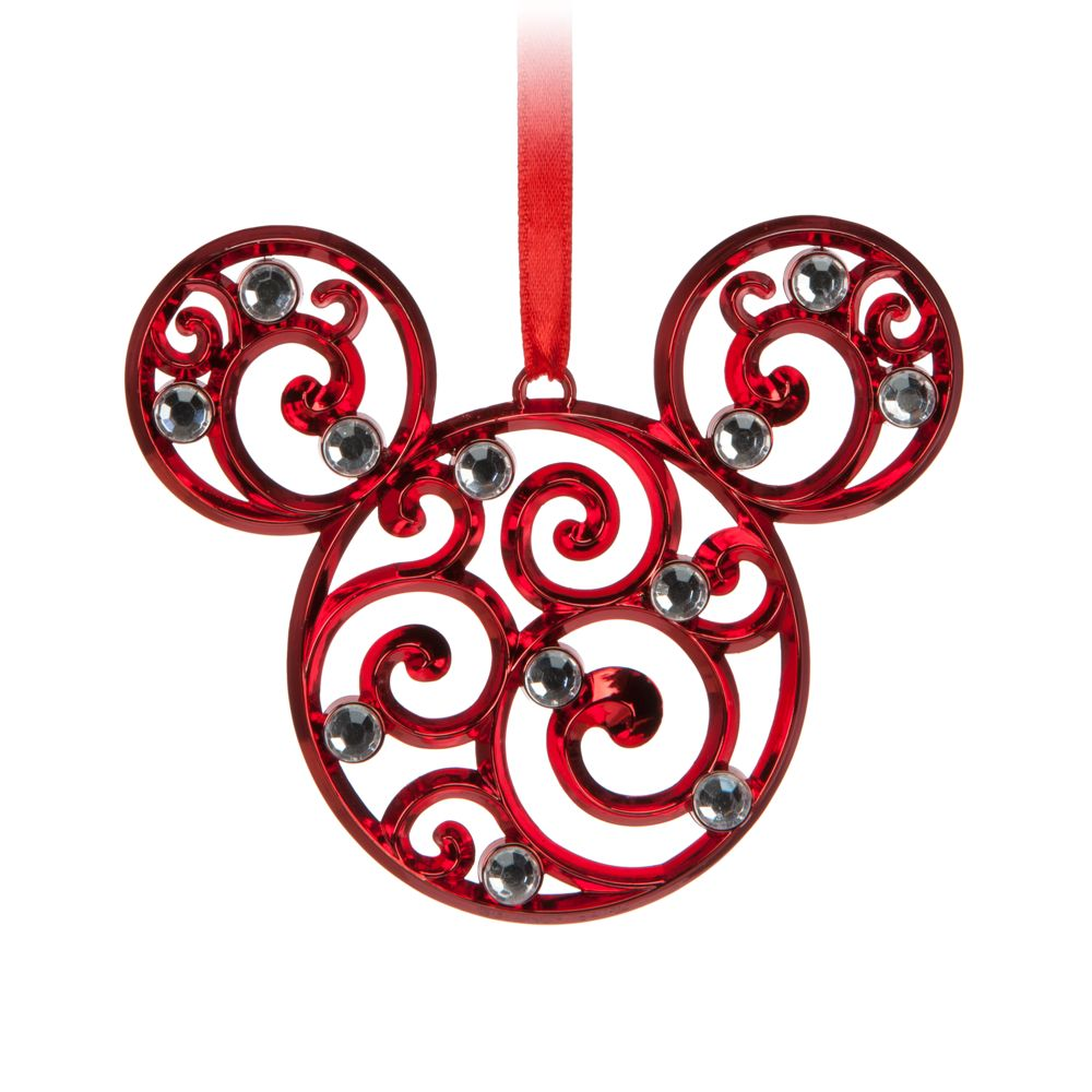 Mickey Mouse Icon Filigree Ornament – Red