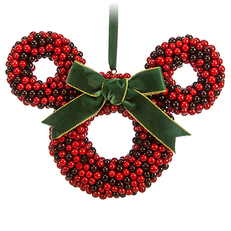 Minnie Mouse Icon Wreath Ornament - Cranberry