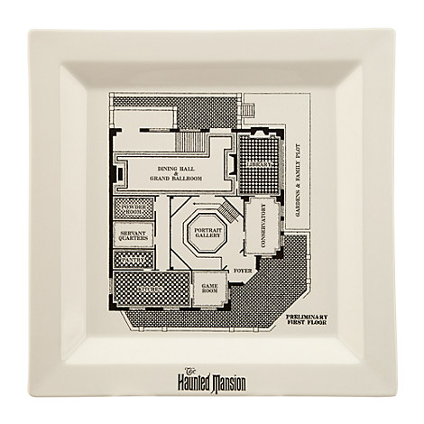 The Haunted Mansion Blueprint Dinner Plate