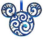 Mickey Mouse Icon Filigree Ornament - Blue