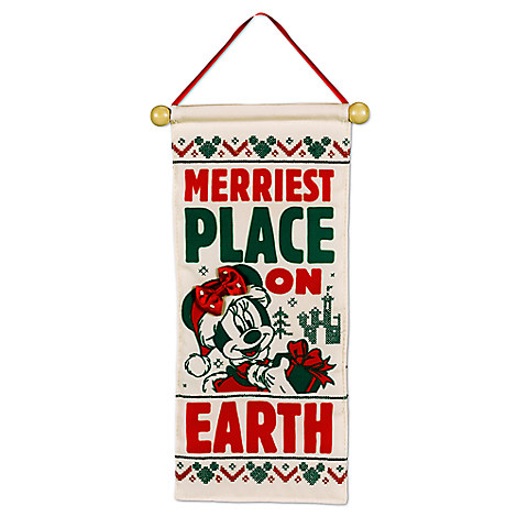 Santa Mickey and Minnie Mouse Holiday Doorknob Banner