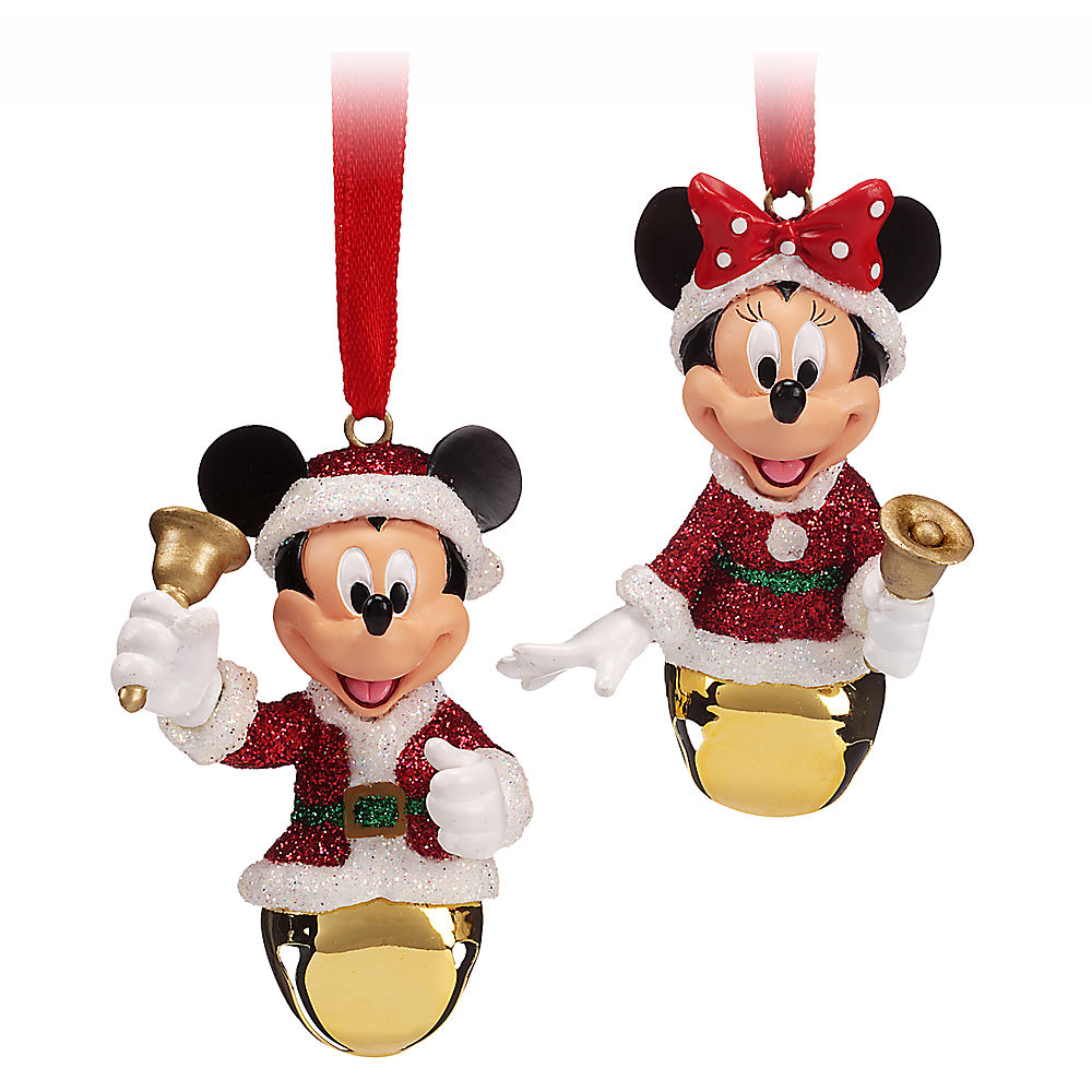Disney ornament sets - Santa Mickey And Minnie Mouse Bell Ornament Set
