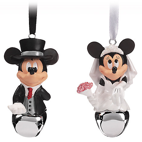 Mickey and Minnie Mouse Wedding Bell Ornament Set