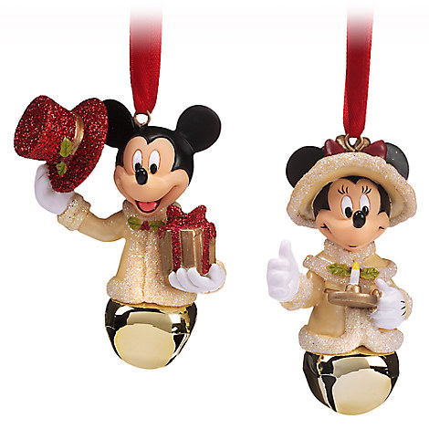 Mickey and Minnie Mouse Victorian Bell Ornament Set