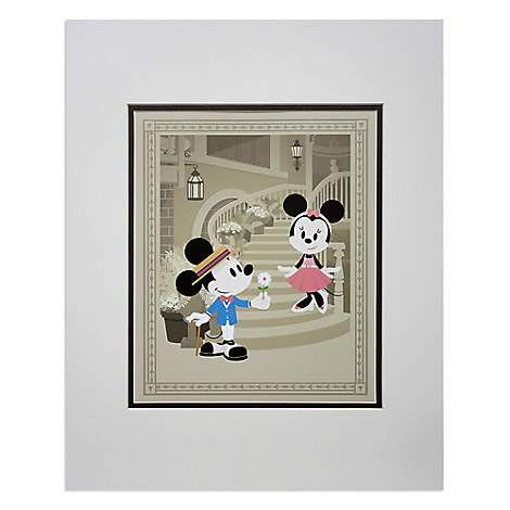 Mickey and Minnie Mouse ''Courting Minnie'' Deluxe Print by Jerrod Maruyama - 18'' x 14''