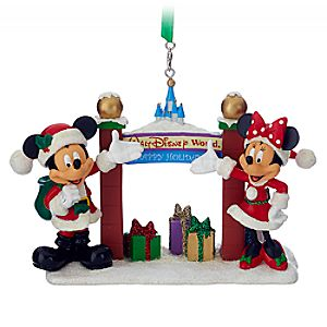 Santa Mickey and Minnie Mouse with Walt Disney World Arch Figural Ornament