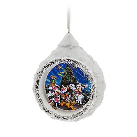 Santa Mickey and Minnie Mouse Diorama Ornament