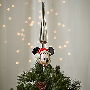 Santa Mickey Mouse Glass Tree Topper