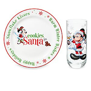 Santa Mickey and Minnie Mouse Cookie Plate and Milk Glass Set