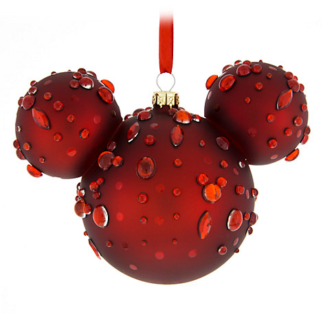 Mickey Mouse Icon Glass Ornament - Ruby Gems