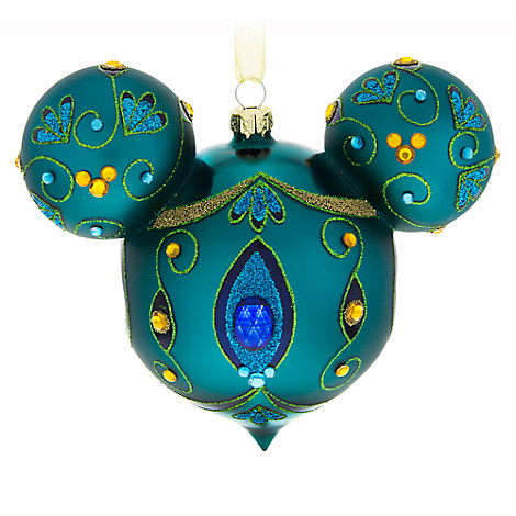 Mickey Mouse Icon Glass Ornament - Peacock