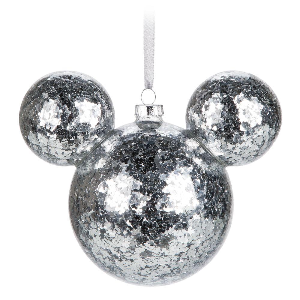 Mickey Mouse Icon Glass Ornament – Silver Confetti