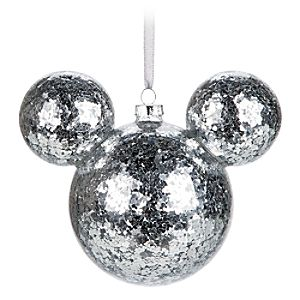 Mickey Mouse Icon Glass Ornament - Silver Confetti