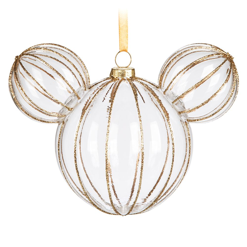 Mickey Mouse Icon Glass Ornament – Golden Rib