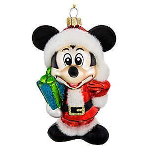 Santa Mickey Mouse Glass Ornament