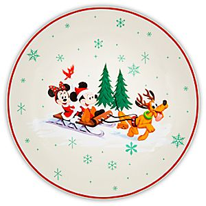 Santa Mickey Mouse and Friends Happy Holidays Dessert Plate