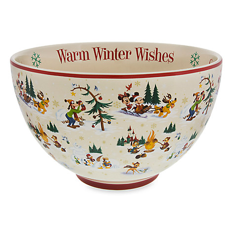 Santa Mickey Mouse and Friends Happy Holidays Serving Bowl