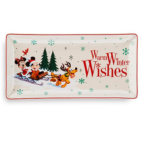 Santa Mickey Mouse and Friends Happy Holidays Snack Tray - Medium