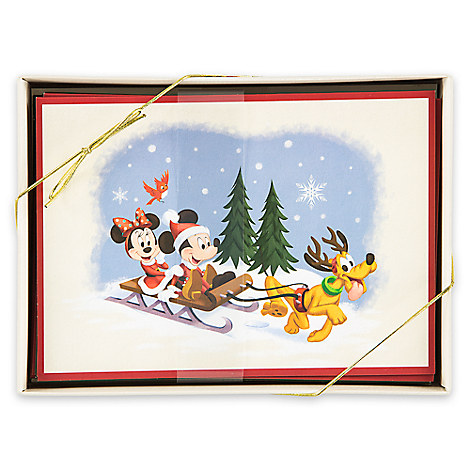 Santa Mickey Mouse and Friends Happy Holidays Card Set