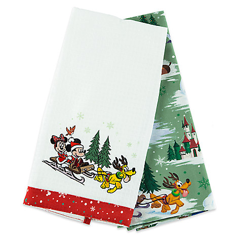 Santa Mickey Mouse and Friends Happy Holidays Dish Towel Set