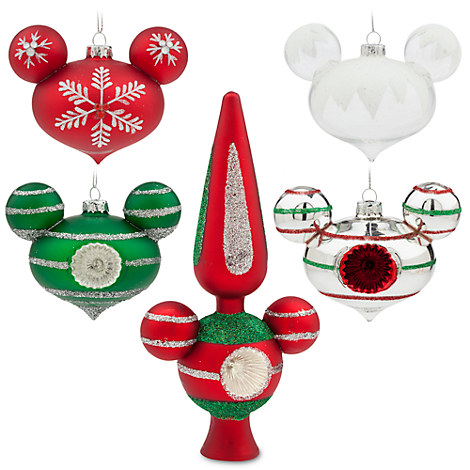 Mickey Mouse Happy Holidays Glass Ornament and Tree Topper Set