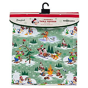 Santa Mickey Mouse and Friends Happy Holidays Reversible Table Runner
