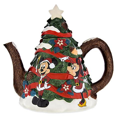 Santa Mickey Mouse and Friends Happy Holidays Tea Pot