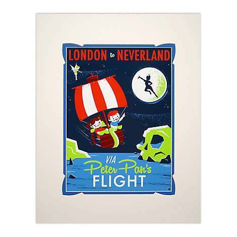 Peter Pan's Flight Retro Poster Deluxe Print