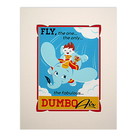 Dumbo the Flying Elephant Retro Poster Deluxe Print