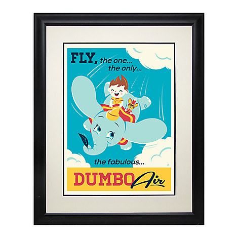 Dumbo the Flying Elephant Retro Poster Deluxe Print - Framed - Limited Edition