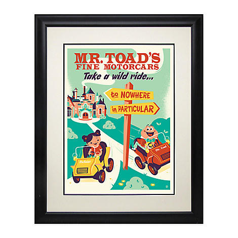 Mr. Toad's Wild Ride Retro Poster Deluxe Print - Framed - Limited Edition