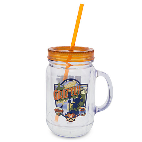Grizzly River Run Jelly Jar with Straw - Small