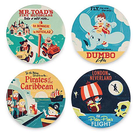Disneyland Attractions Retro Art Coaster Set