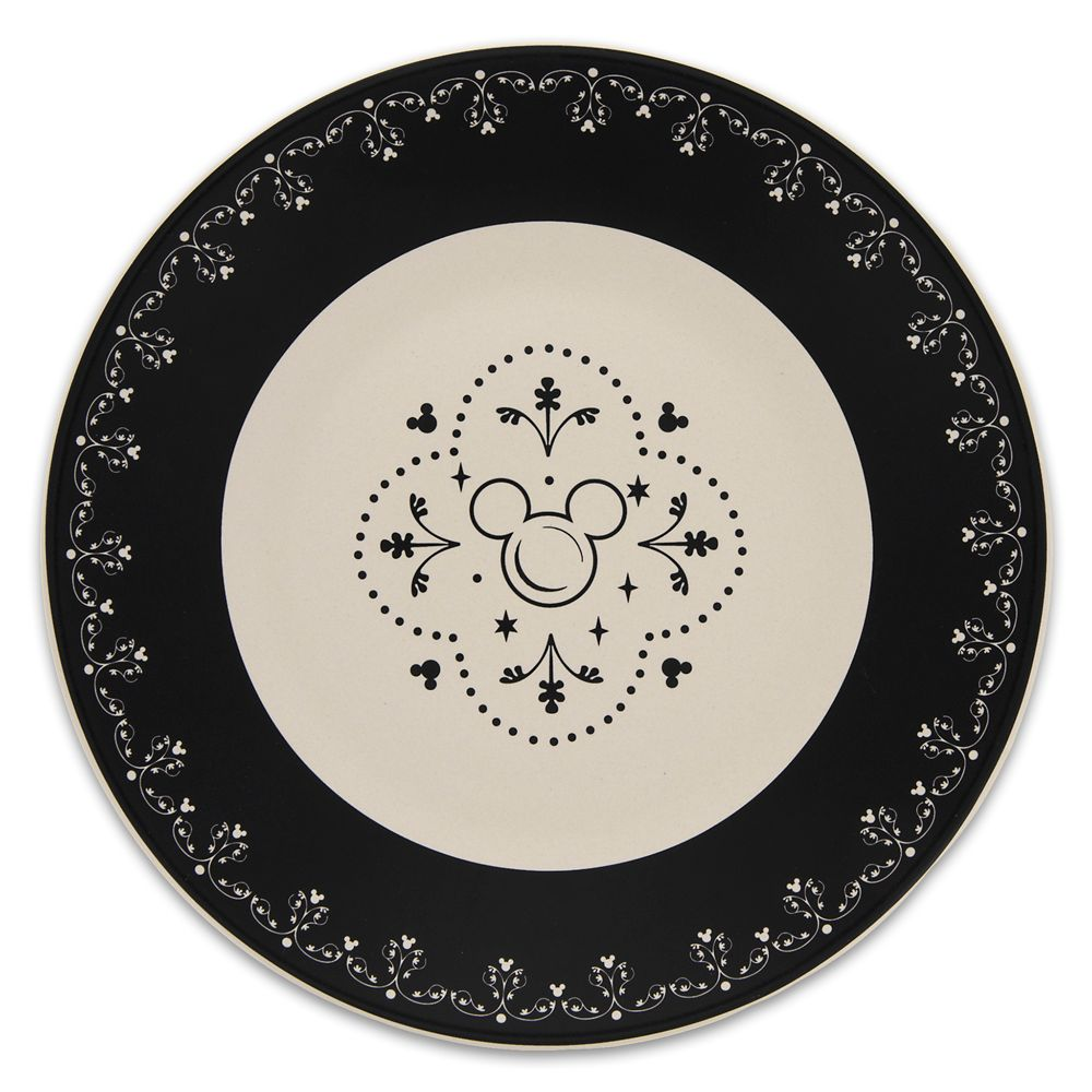 Mickey Mouse Icon Dessert Plate – Disney Dining Collection – Black / White