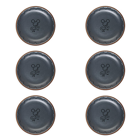 Mickey Mouse Icon Dessert Plate Set - Disney Dining Collection - Gray / Tan