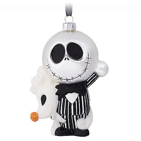 Jack Skellington and Zero Glass Ornament