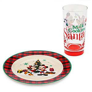 Santa Mickey & Minnie Mouse Cookie Plate and Milk Glass Set