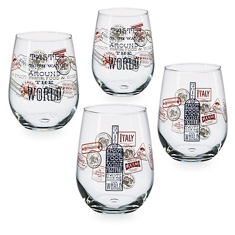 Epcot International Food and Wine Festival Stemless Wine Glasses - 4-Pc.