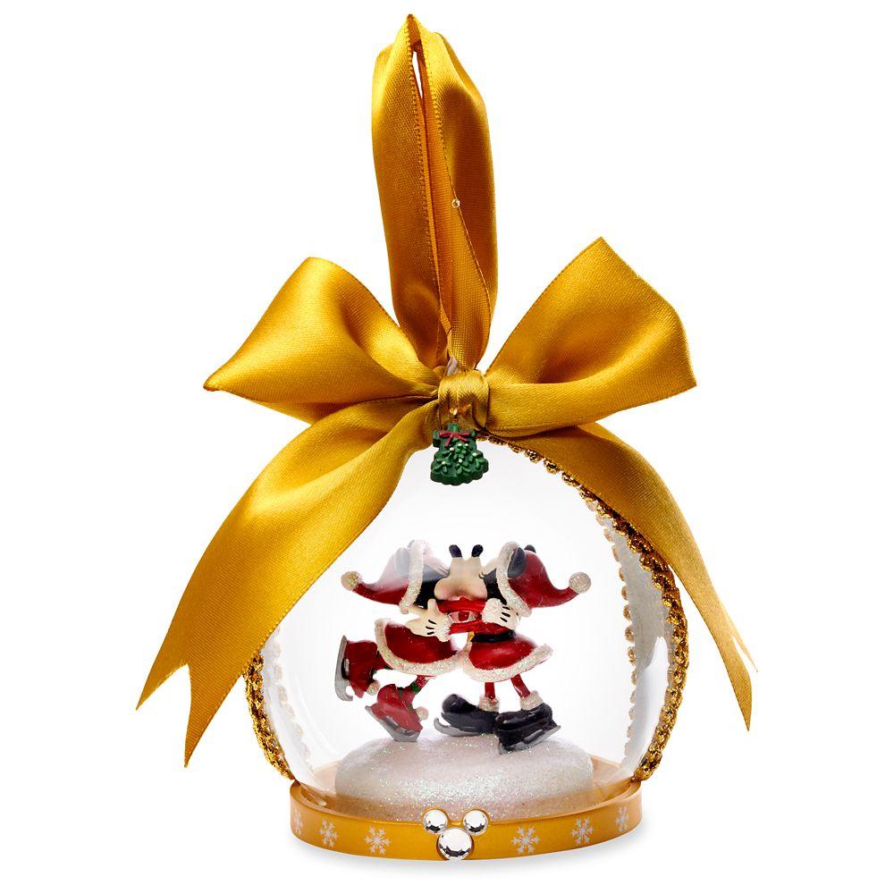Santa Mickey and Minnie Mouse Glass Globe Ornament