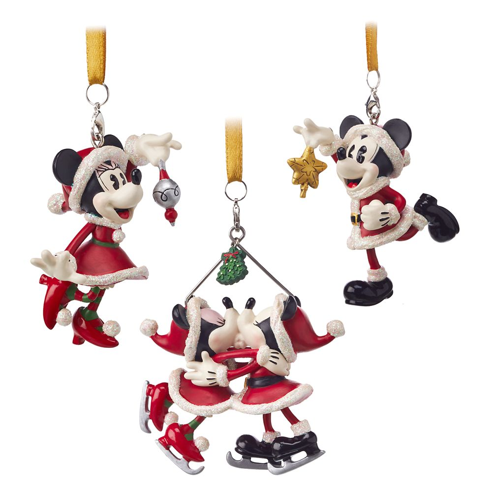 Santa Mickey and Minnie Mouse Ornament Set