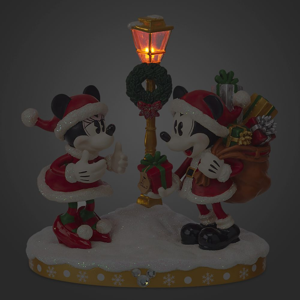 Santa Mickey and Minnie Mouse Holiday Light-Up Figurine