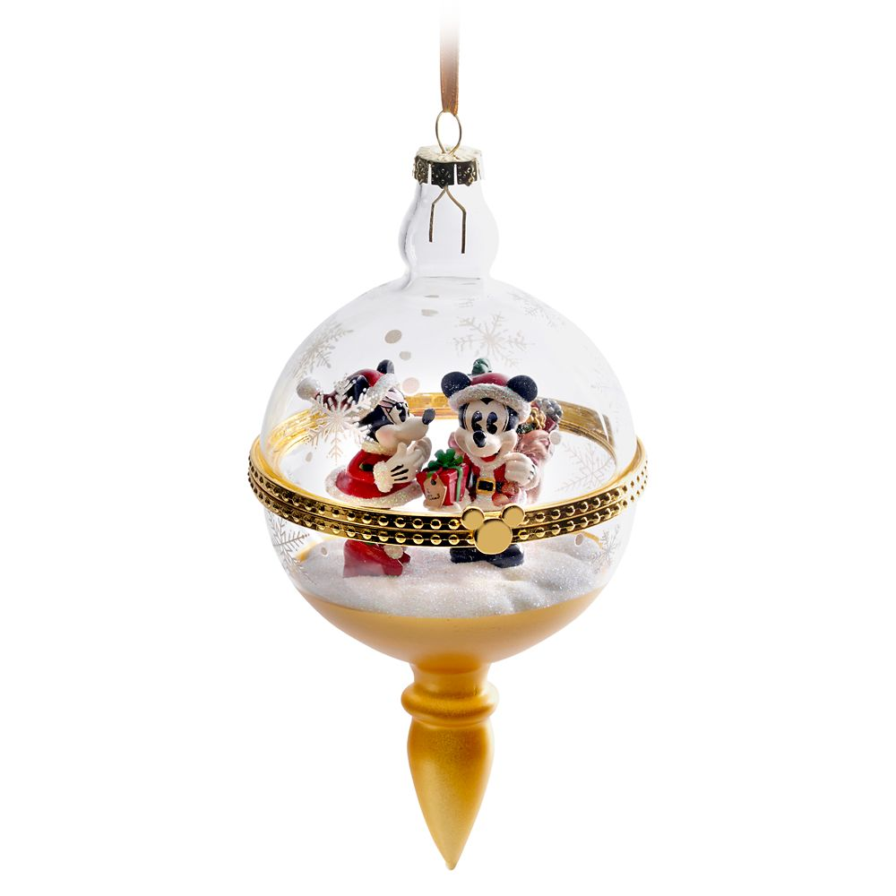 Santa Mickey and Minnie Mouse Glass Droplet Ornament