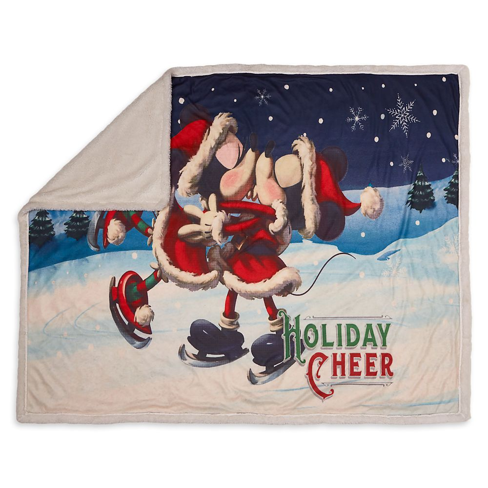 Santa Mickey and Minnie Mouse Reversible Throw
