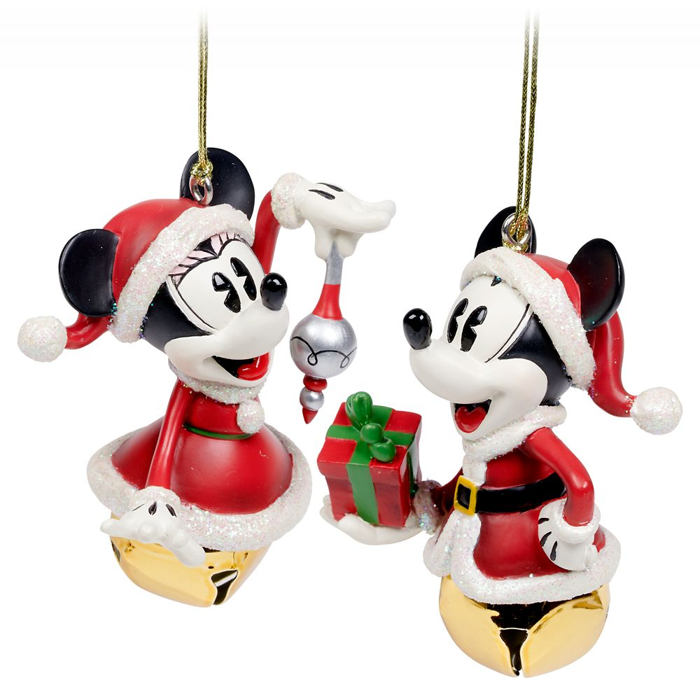 Santa Mickey and Minnie Mouse Bell Ornament Set Official shopDisney