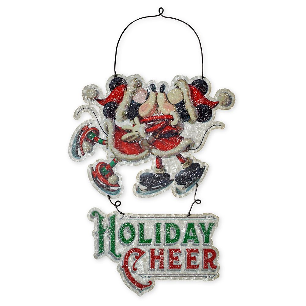 Santa Mickey and Minnie Mouse Metal Holiday Sign